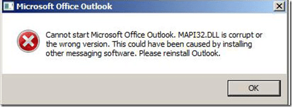 Cannot start Microsoft Office Outlook  MapI32 DLL is corrupt