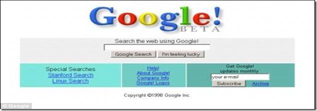 screenshot from the beta version of Google