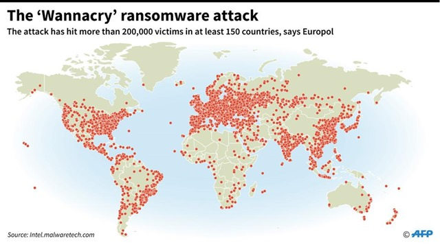 A map showing where WannaCry ransomware was installed