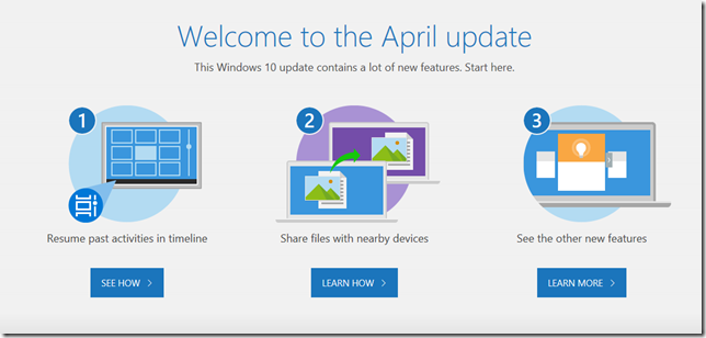 Welcome to the April update. This Windows 10 update contains a lot of new features. Start here.