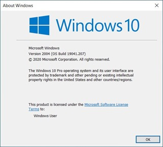 Windows 10 Ver 2004 (OS Build 19041.207)